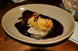 Crêpe farcie, glace à l'érable en tempura